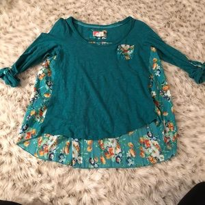 Anthropologie teal and Floral Blouse